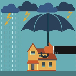 cartoon home being covered from storm with umbrella